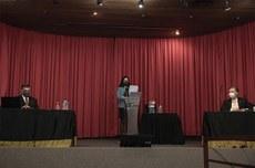 Debate entre candidatos a reitor da UTFPR realizado no dia 19 (Foto: Decom)