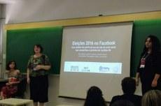 Camila Mancio, professora Edna Miola e Nayane Cardoso também apresentaram a pesquisa no Congresso Nacional da Sociedade Brasileira de Estudos Interdisciplinares da Comunicação (Intercom)