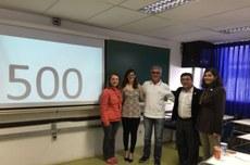 Manuela Gortz (segunda, da esquerda para a direita) entre os membros da banca de defesa da dissertação nº 500 do PPGTE