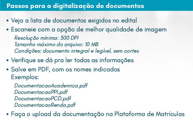 Passos para digitalização de documentos para matrícula da 1ª chamada