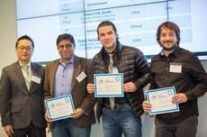 Da esquerda para a direita: Hakjae Kim, da Iarpa, Sudeep Sarkar, da Universidade do Sul da Flórida, Rodrigo Minetto, da UTFPR, e Maurício Pamplona Segundo, da UFBA