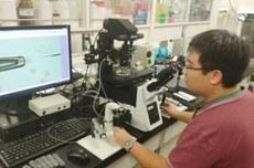 Gustavo em um dos laboratórios| Foto: Gustavo Sonoda