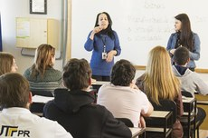 Alunos em sala de aula no Câmpus Pato Branco