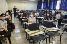Turma do 1º ano do Técnico Integrado em Informática de Campo Mourão teve aula presencial nesta quinta-feira (Foto: Ascom-CM)