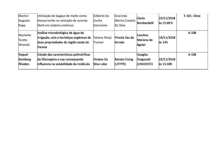 Calendário de apresentações de Trabalho de Conclusão de Curso II_parte 2