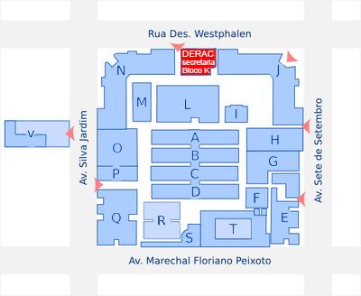Mapa para localização do DERAC-CT na Sede Centro